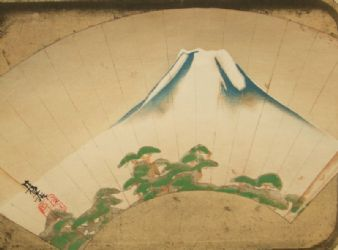 Antique Japanese Mt Fuji Chromoxylograph engraving print 1800's